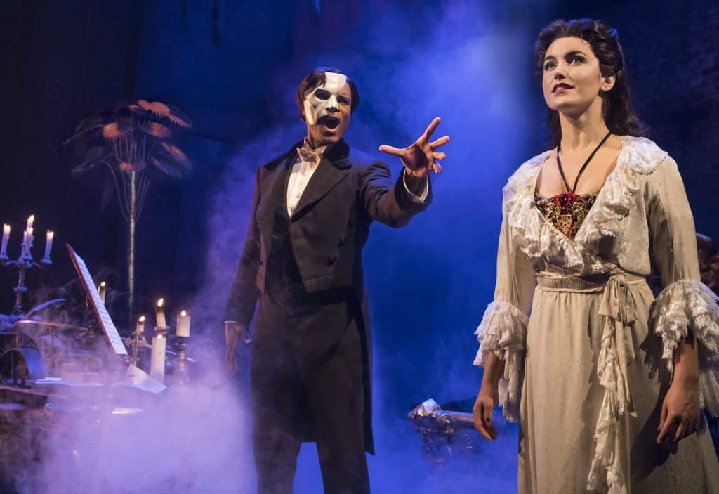 THE PHANTOM OF THE OPERA - Derrick Davis as the Phantom and Eva Tavares as Christine - photo Matthew Murphy