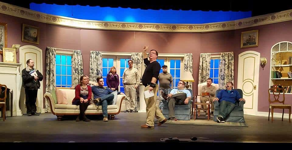 Director Craig Friday in action! Thanks to Julie Johnson Friday for providing a few production photos to add to this post. The cast of And Then There Were None on stage at the Pequot Lakes Community Theater, Feb. 2018.