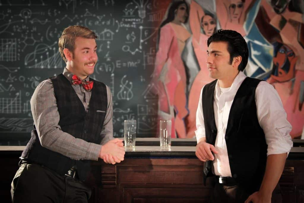 AJ Swanson as Albert Einstein and Justin Cervantes as Pablo Picasso in The Chameleon Theatre Circle's production of Picasso at the Lapin Agile. Photo by Daniel K. McDermott