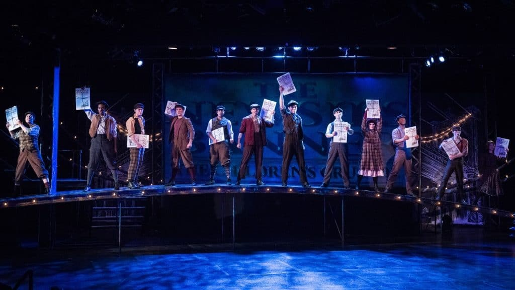 Cast of Newsies, on stage at CDT through Sept. 29, 2018. Photo by Rich Ryan