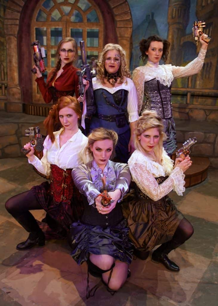 Sarah Wind Richens as Princess Ida, with Anna Maher, Cassandra Utt, Kaitlin Klemencic, Sarah Mehle and Taylor Ann Grand.