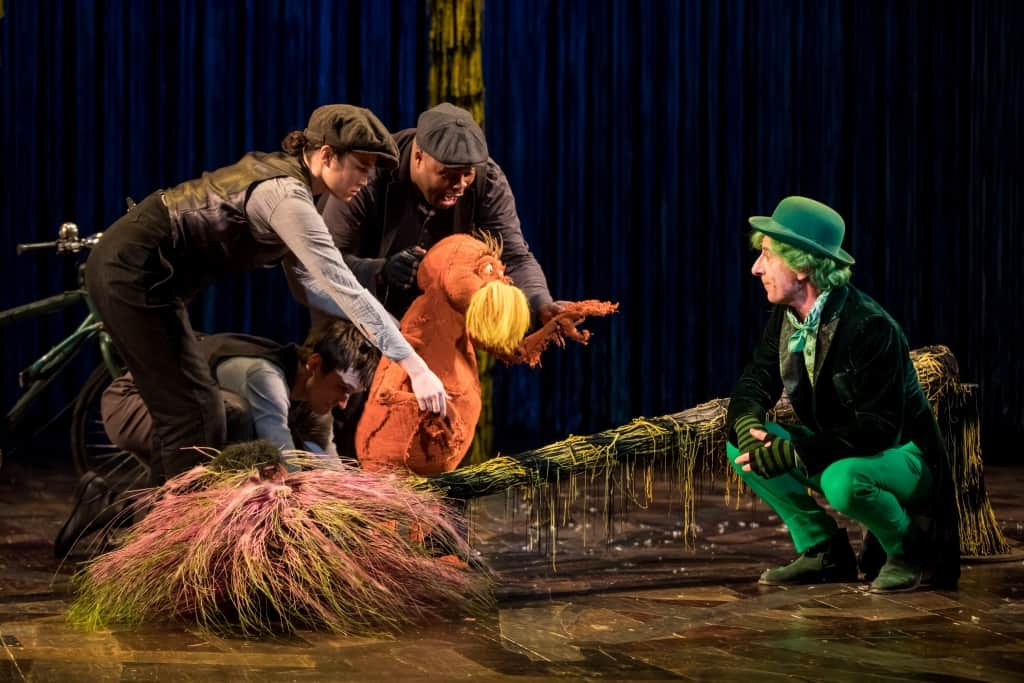Meghan Kreidler and Rick Miller and H Adam Harris as The Lorax and Steven Epp as The Once-ler in Dr. Seuss's The Lorax Photo by Dan Norman