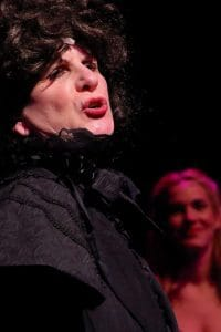 Rebecca Timmins as Frau Blucher in BCT's production of Young Frankenstein. Photo by John Erickson