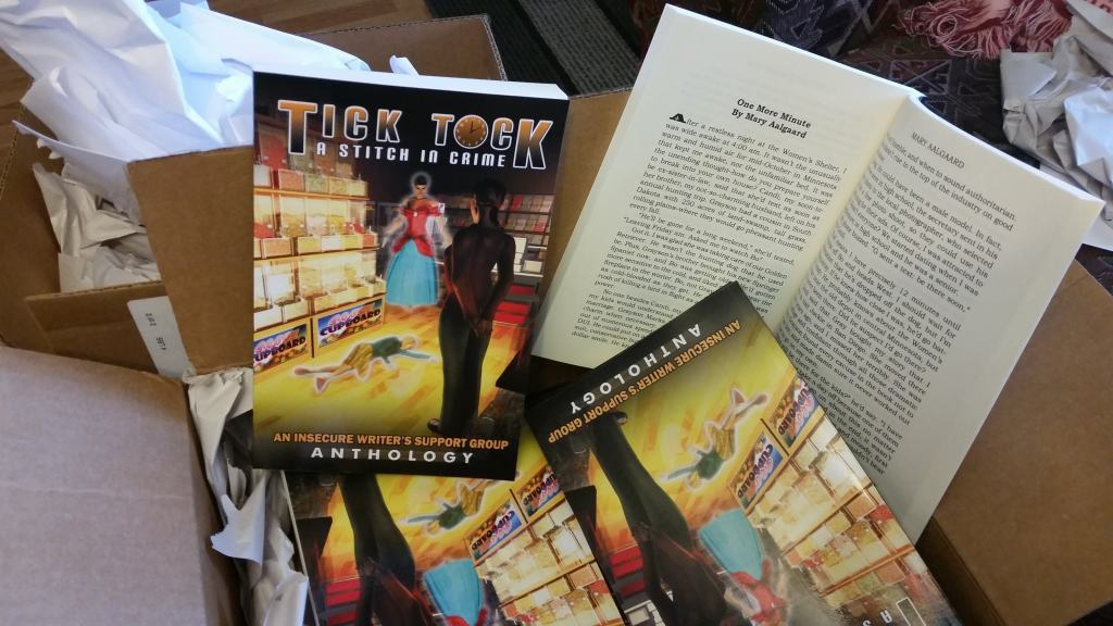 "I have arrived. The box of books with my first published short story in it. Tick Tock: A Stitch in Crime Anthology. My story is ""One More Minute."" Dancing Lemur Press"