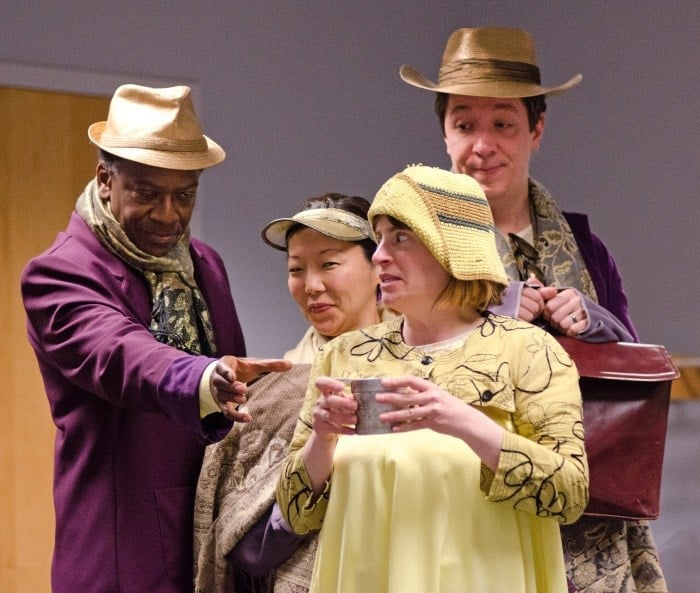 The Three Gods Harry Waters Jr., Sun Mee Chomet, Max Wojtanowicz, and Elise Lnager as Wang, the Water Seller in Ten Thousand Things Theater production of The Good Person of Szechwan. Photo by TTTTheater.