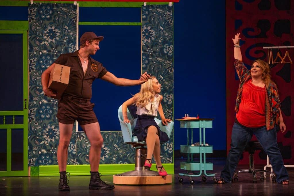 Lars Nisswandt, Angela Steele, and Mary Palazzolo in Legally Blonde at Artistry. Photos by Devon Cox