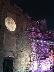 Carmen under the stars, with a full moon projection, Mill City Summer Opera.