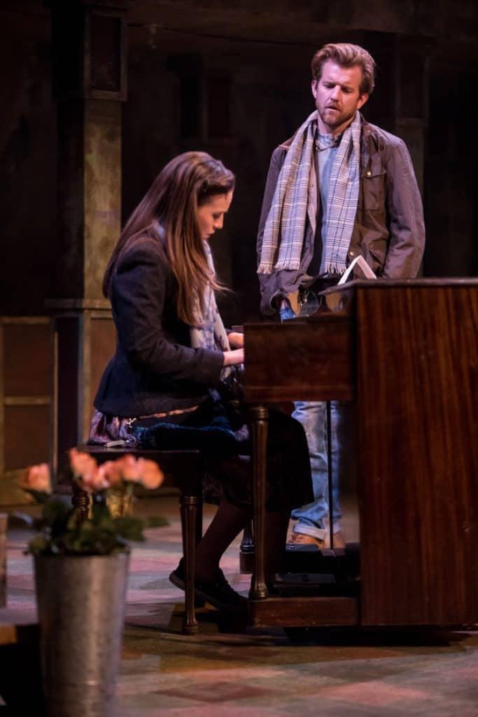 Ben Bakken as Guy and Britta Ollmann as Girl in Once at Theater Latte' Da in Minneapolis, MN. Photo by Dan Norman