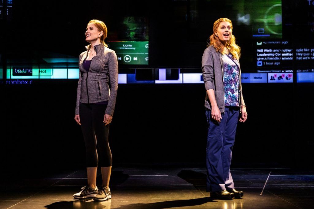Christiane Noll as Cynthia Murphy and Jessica Phillips as Heidi Hansen in the First National Tour of Dear Evan Hansen. Photo by Matthew Murphy